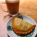Curry puff (S$1.20) and teh tarik (S$0.90)