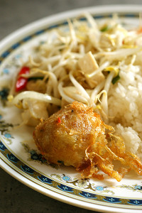 Rice with bergedil and stirfried beansprouts