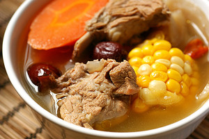 Sweet corn, carrot, and pork rib soup.