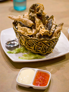 Deep fried fish skin, S$10.00