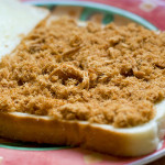 Crispy pork floss sandwiched between two slices of Gardenia white bread.