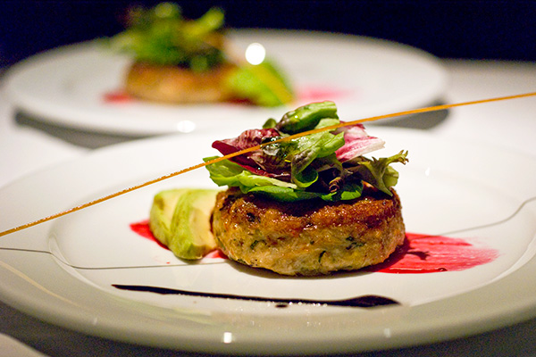 Crabmeat Cake with Avocado top with Mesclun Salad, Beetroot Paint & Balsamic Reduction