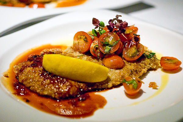 ... fried in Butter glace with Veal Jus, Cherry Tomato Salsa & Lemon Wedge