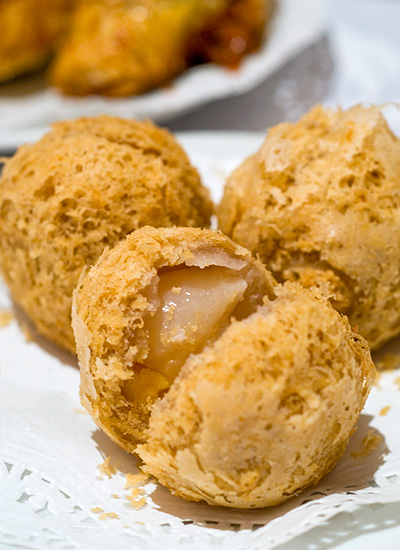Deep Fried Yam Balls with Lychee