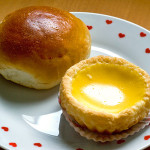 Chicken bun 鸡肉餐包 & egg tart 蛋挞, both items S$1.00 each