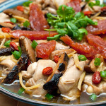 Steamed chicken with mushroom and Chinese sausage