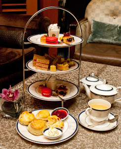 Three-tier afternoon tea set for two persons.