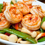 Stir-fried prawns, sugar snap peas and Shimeiji mushrooms in XO sauce.