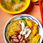 Teck Kee Special - noodles with char siew, soy sauce chicken, fried fish wanton & soup with wantons, S$4.00. Additional 2 shrimp dumplings S$1.50.