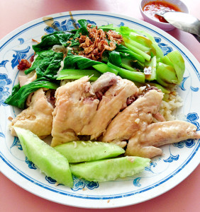 Chicken rice + add on veggies, S$3.00