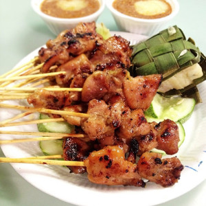 Pork & chicken satay, S$0.50 per stick.