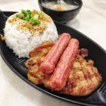 Wing style pork chop with sausage & rice, S$6.00