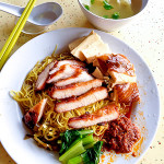 Wanton noodle with premium char siew, S$4.00 + add-on soy sauce chicken S$2.00