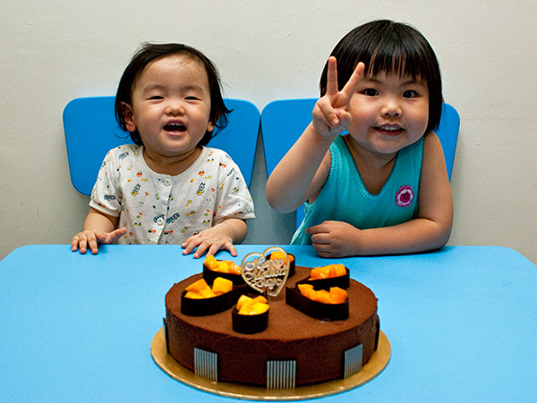 My two imps are so happy when there's cake!