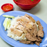Chicken rice for 1 person, S$4.00 ($3.50 for chicken rice + $0.50 for liver)
