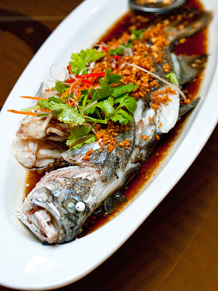 Hong Kong-style steamed sea bass